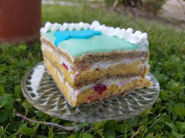 Bela nugat torta sa malinama