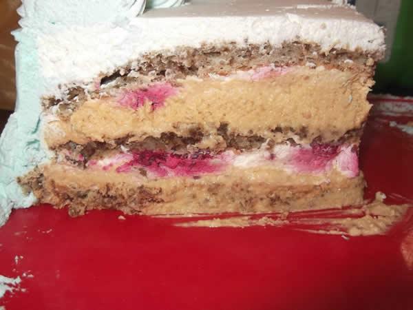 Torta sa mlevenim keksom i malinama